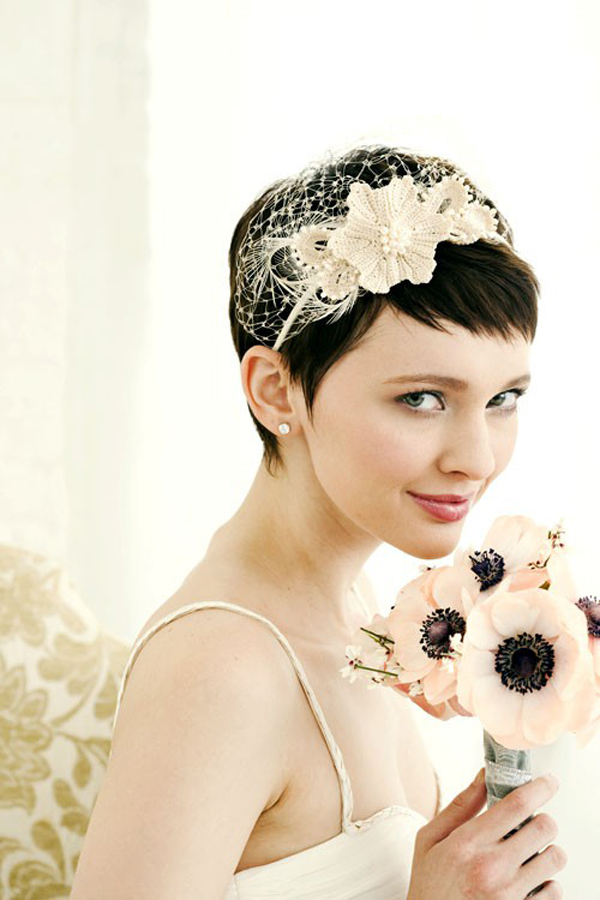 Short hair wedding bridal hair7