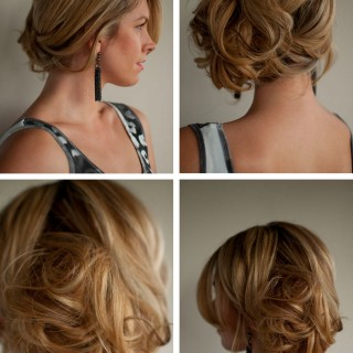 Messy chignon updo hairstyle web collage