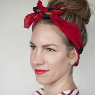 5 ways to wear a scarf and a top knot – 4 – retro bow headband