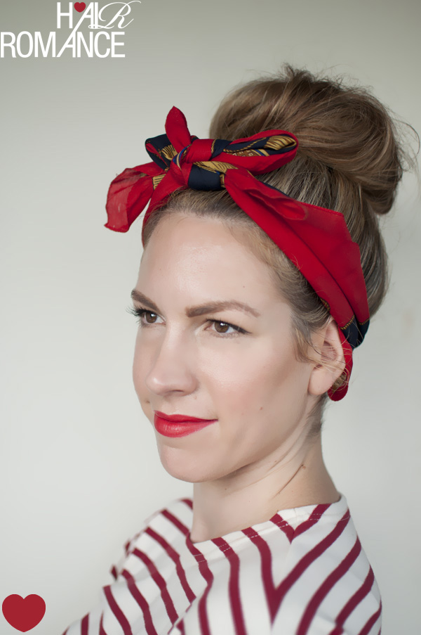 ways to wear a scarf and a top knot – 4 – retro bow headband