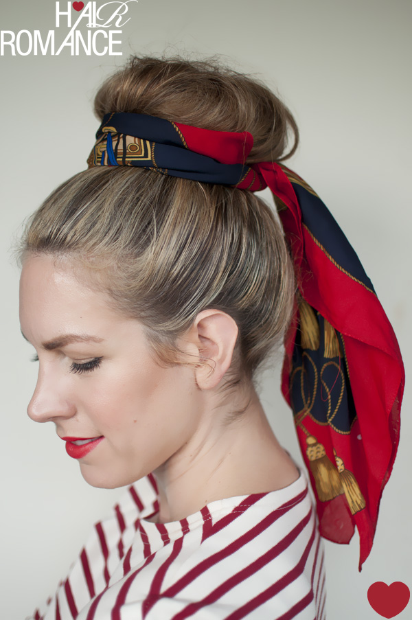 ways to wear a scarf and top knot  2  the sash  Hair Romance Best Scarves For Hair