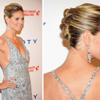 Heidi Klum french twist pin bun hairstyle