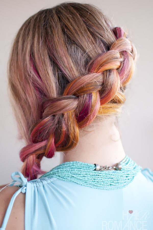 Hair romance pink side braid hairstyle 3