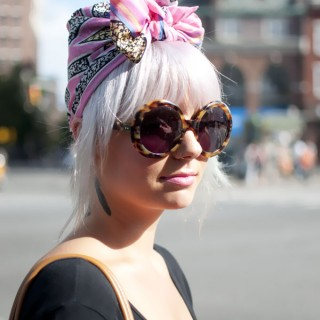 Street style hair - New York - Pink scarf turban