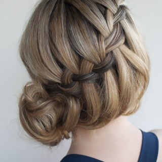 Hair Romance - 30 braids 30 days - 21 - the waterfall messy braid bun