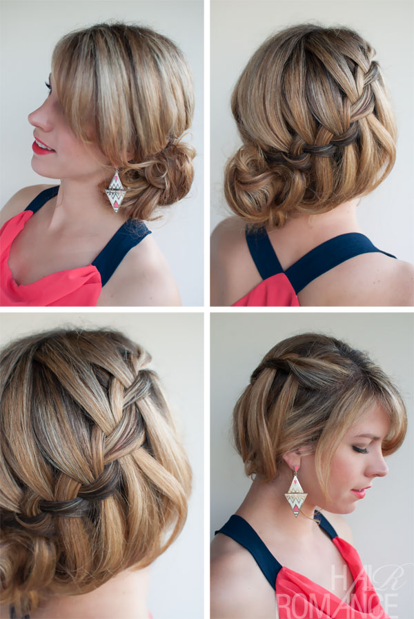 Waterfall Braid Updo Hairstyles