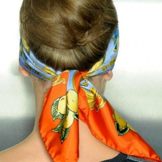 hair - Dolce Gabbana SS13 - scarf updo closeup