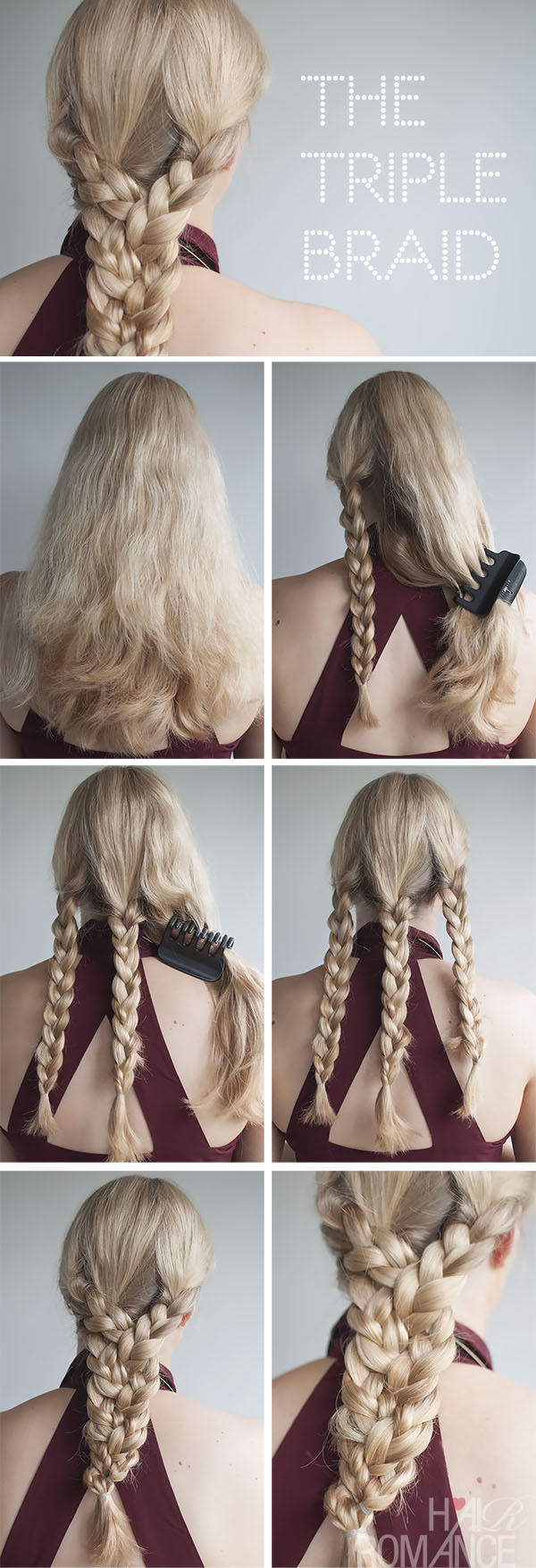 Hair Romance - triple braid tutorial