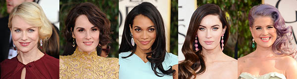 Golden Globes red carpet hairstyles - deep side part hair trend