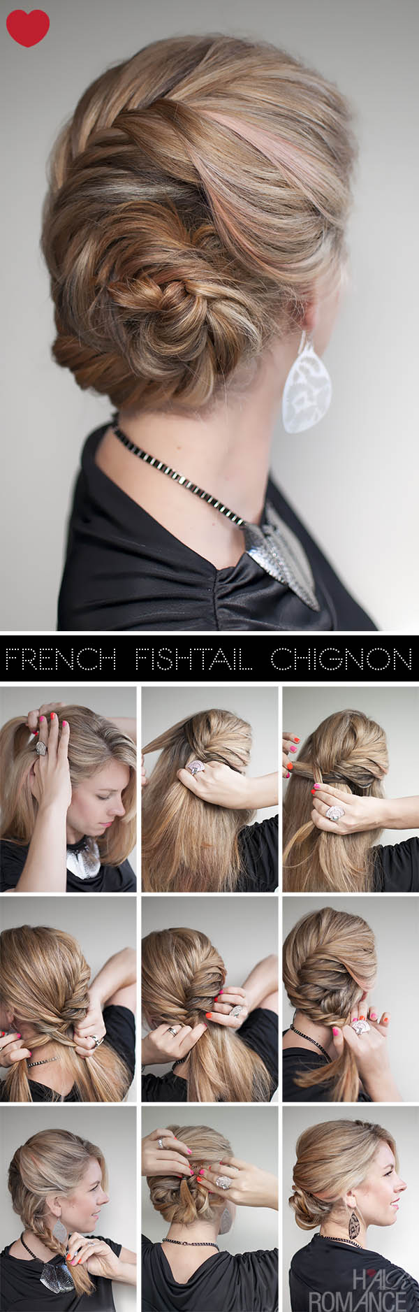 Hairstyle tutorial - French fishtail braid chignon - Hair ...