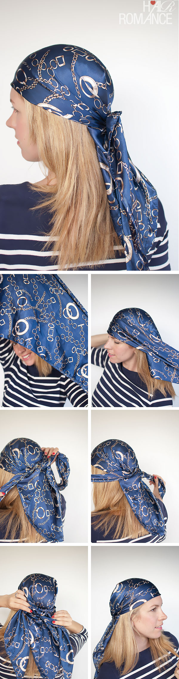 Hair Romance - Headscarf three ways - aye aye captain