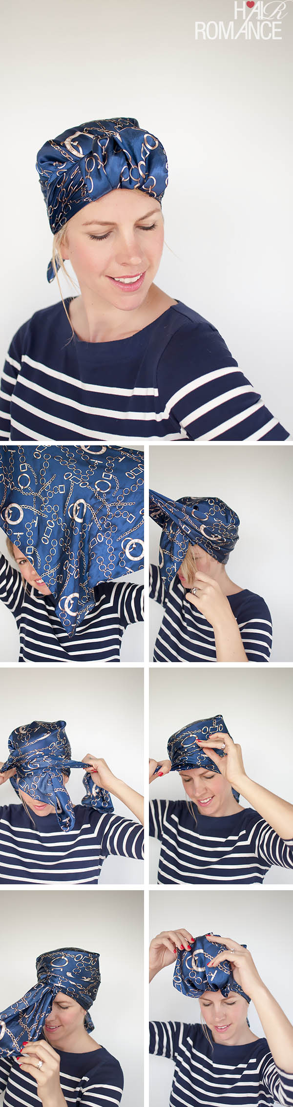 Hair Romance - Headscarf three ways - sleek urban turban