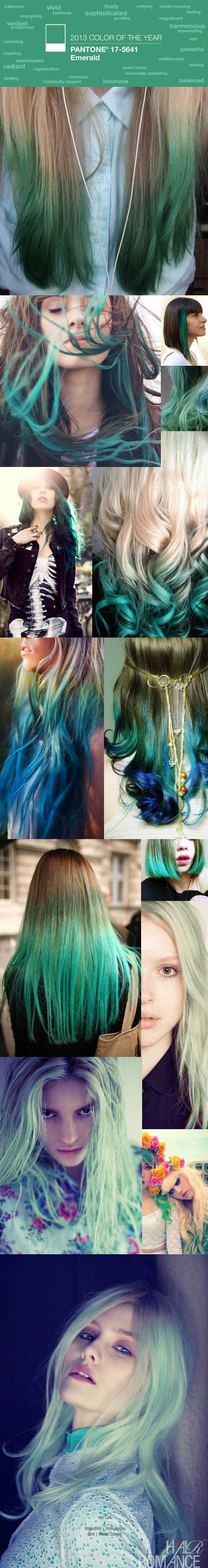 Pantone - Emerald - Color of the year 2013 - Hair Romance