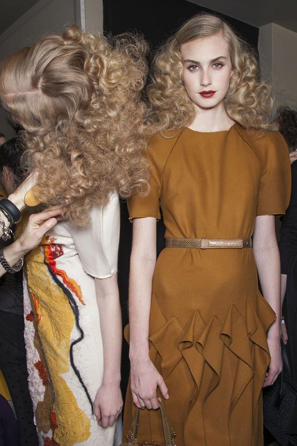 Backstage big fluffy hair at Bottega Veneta Fall 2013 Milan