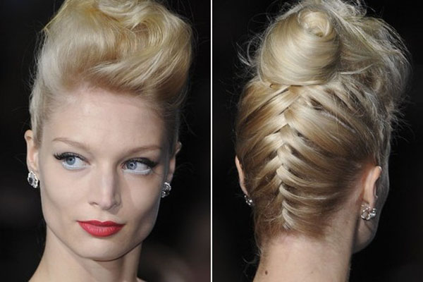 Badgley Mischka NYFW 2013 hair - backwards braided quiff