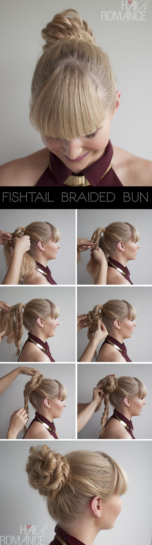 Hair Romance Fishtail Braided Bun tutorial