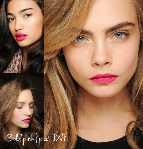 NYFW Beauty trends to try now - Bold pink lip at DVF