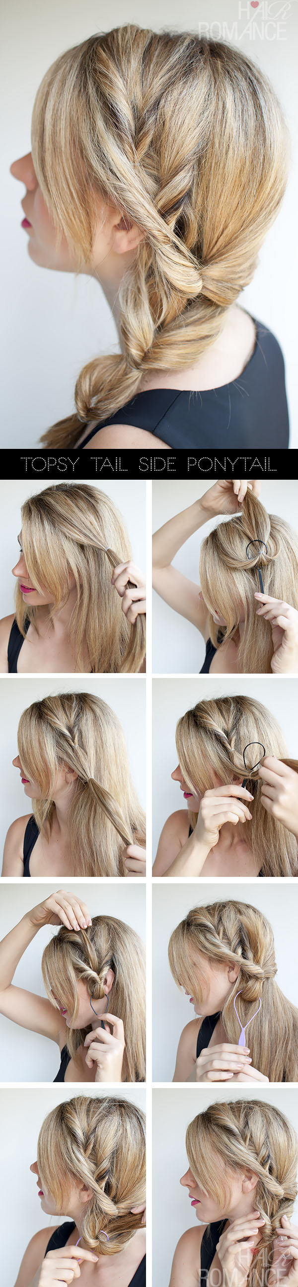 Hair Romance - Topsy Tail Ponytail tutorial - the no-braid side braid