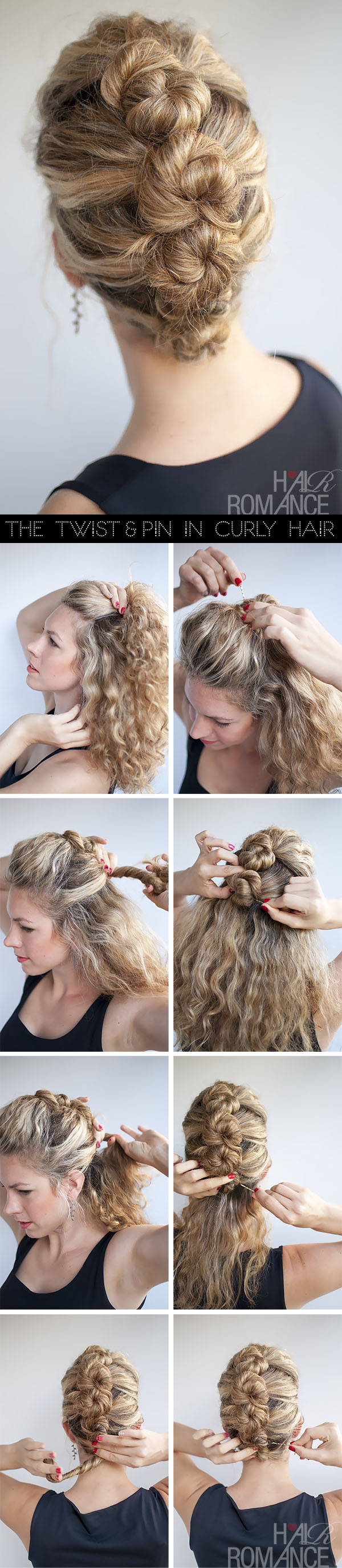 Romance hairstyle tutorial - The French Twist and Pin in curly hair
