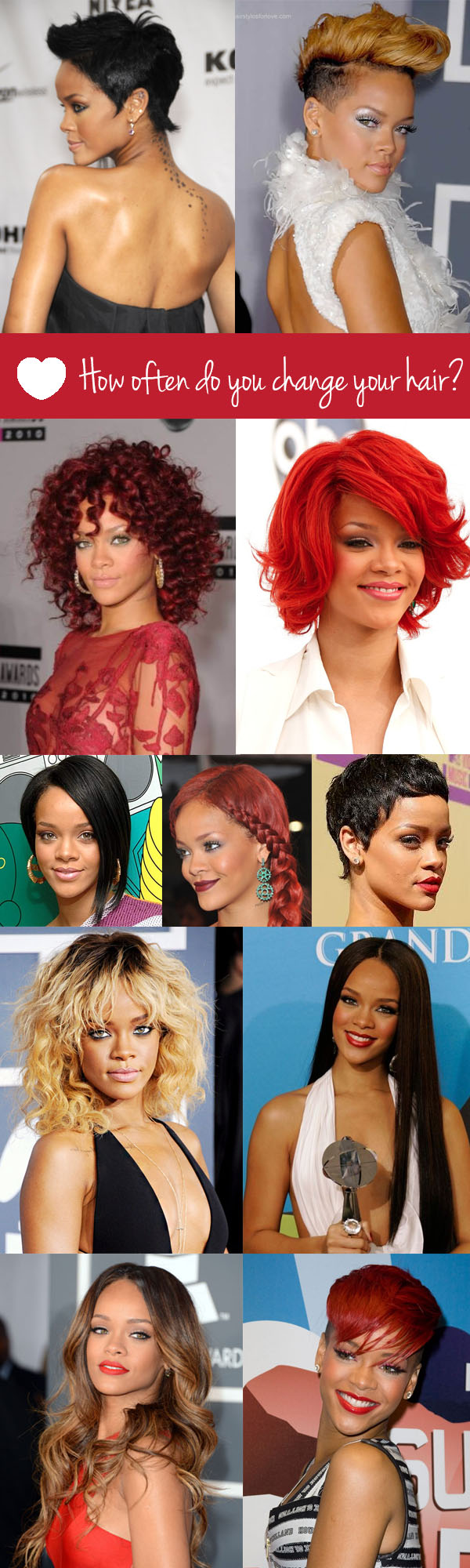 Rihanna has more hair changes than hot dinners