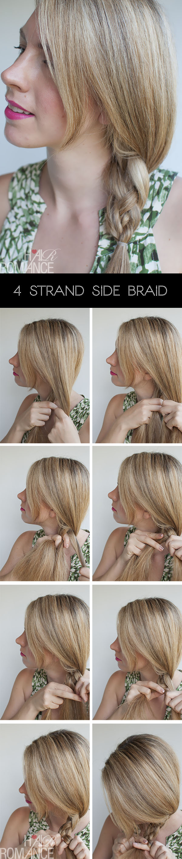 Hair Romance - 4 strand side braid hair tutorial