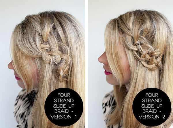 Hair Romance - 4 strand slide up braid comparison