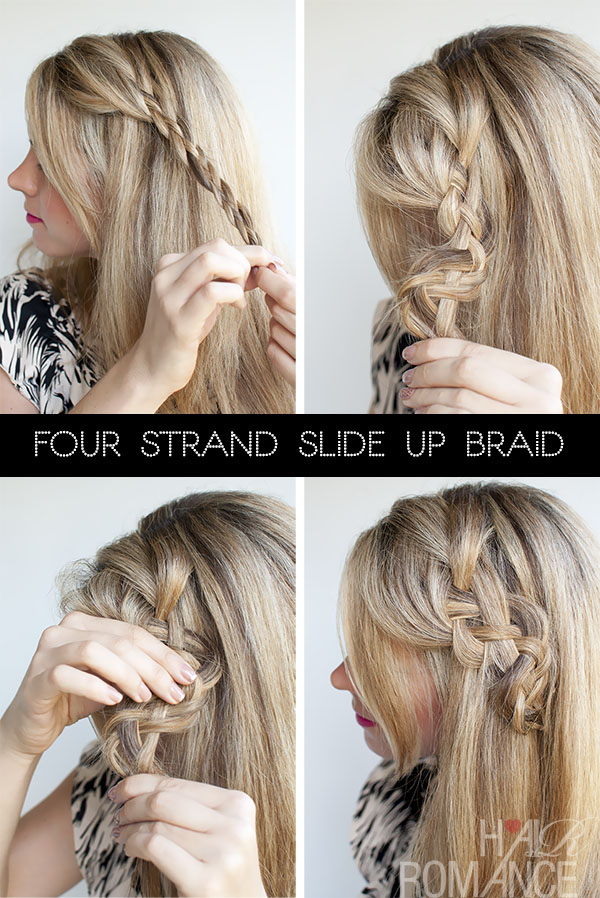 Hair Romance - 4 strand slide up braid tutorial - version 1