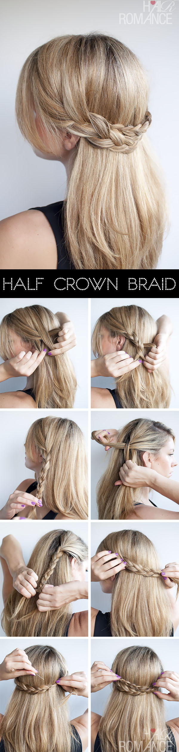 Hair Romance hairstyle tutorial - half crown braid