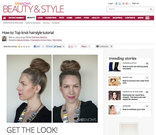 Hair Romance on She Know - how to style a top knot