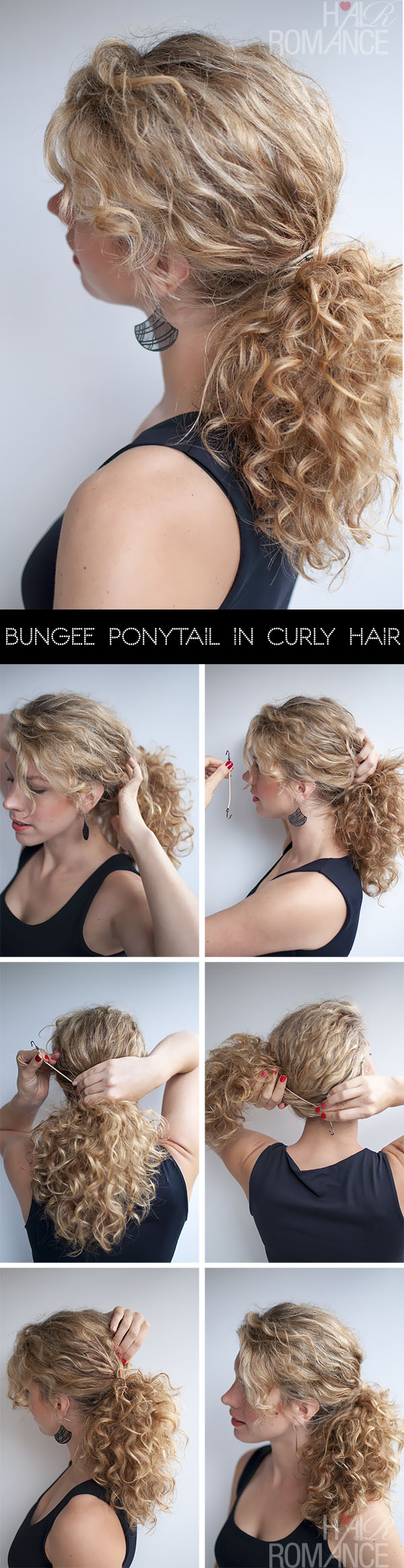 Hair Romance - Bungee Ponytail Hair Tutorial in curly hair