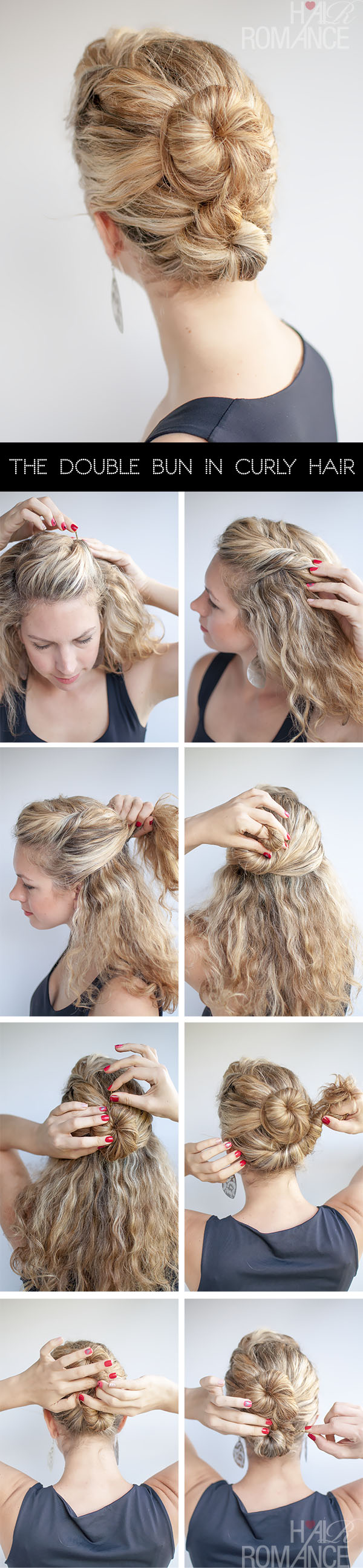 Hair Romance - The Double Bun Hair Tutorial in curly hair