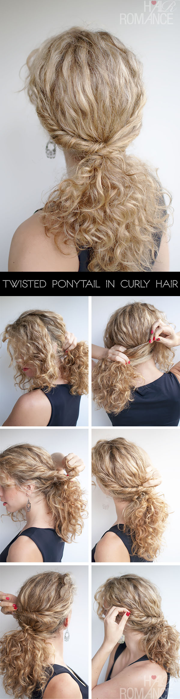 Hair Romance - Twisted Ponytail Hair Tutorial in curly hair