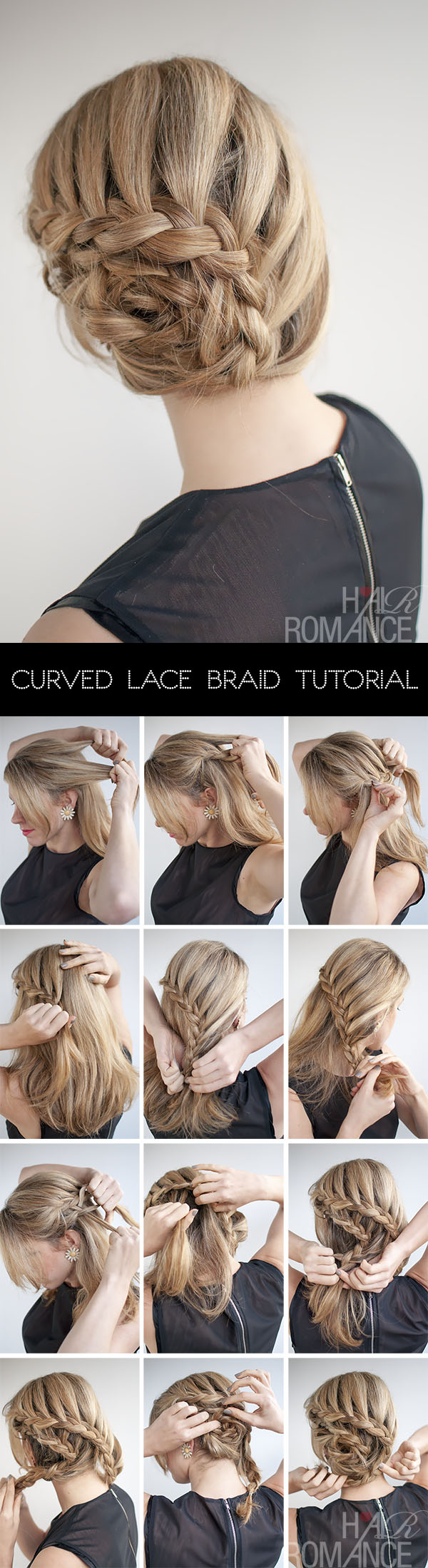 Curved lace braid hairstyle tutorial inspired by Nicole Kidman at Cannes | Hair Romance