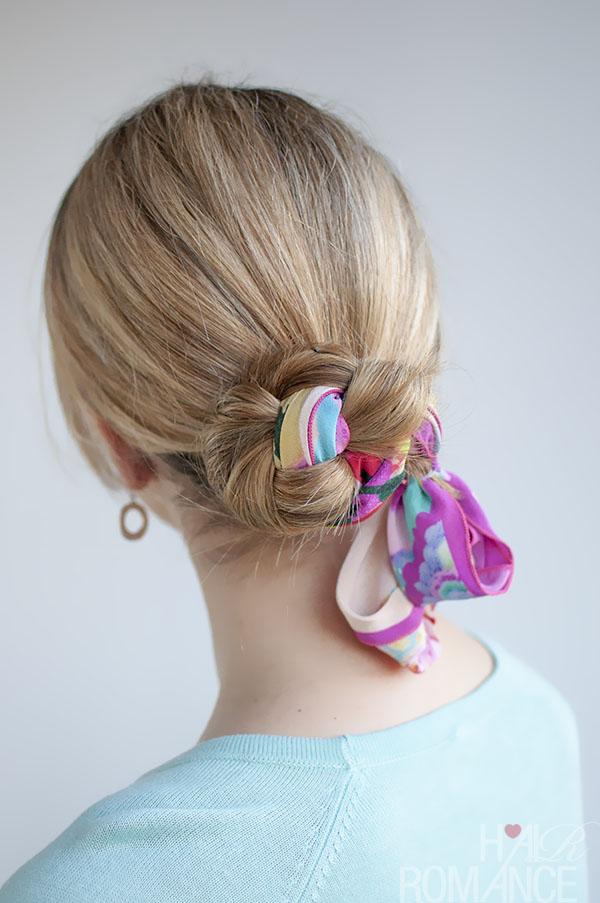 Hair Romance - 30 Buns in 30 Days - Day 10 - Scarf Braid Bun Hairstyle