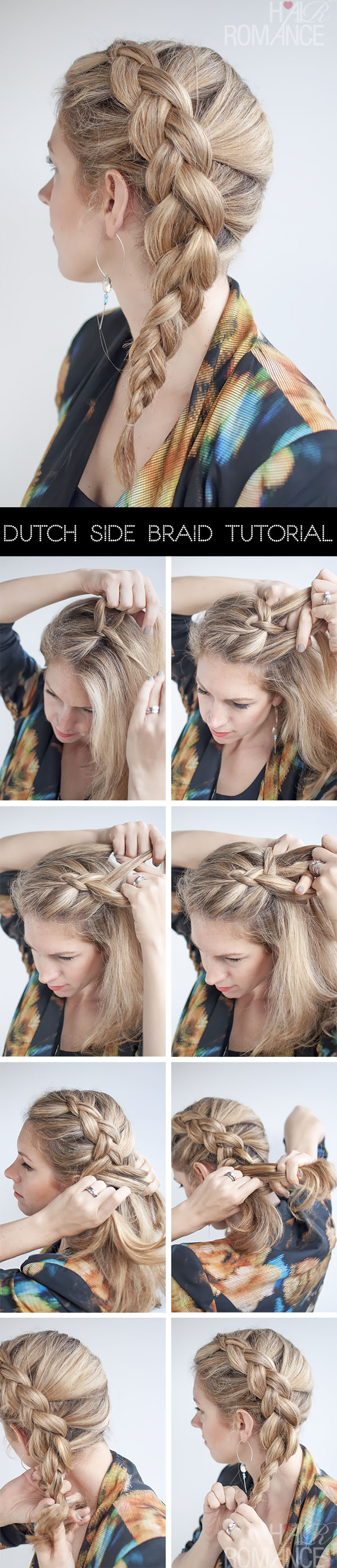 Hair Romance - side Dutch braid hairstyle tutorial