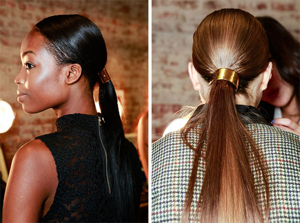 NYFW ponytail hair trends - Jason Wu metallic ponytail cuffs