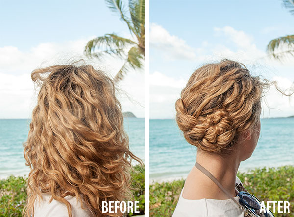 Hair Romance - Dutch Braid Updo hairstyle tutorial - before and after