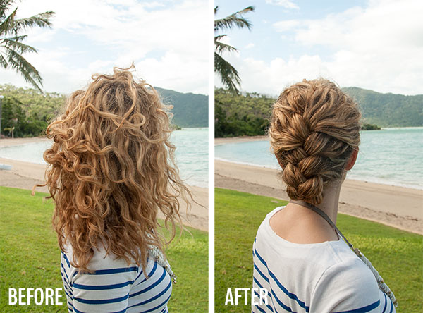 Hair Romance - Tucked French Braid hairstyle tutorial - before and after
