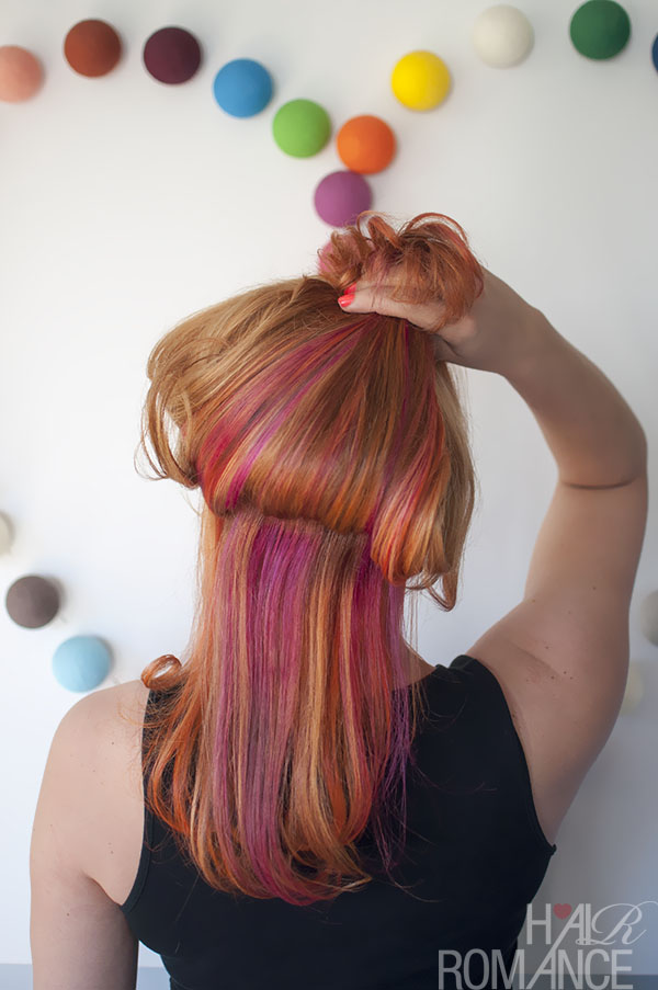 Hair Romance - the colour mullet - party colours underneath