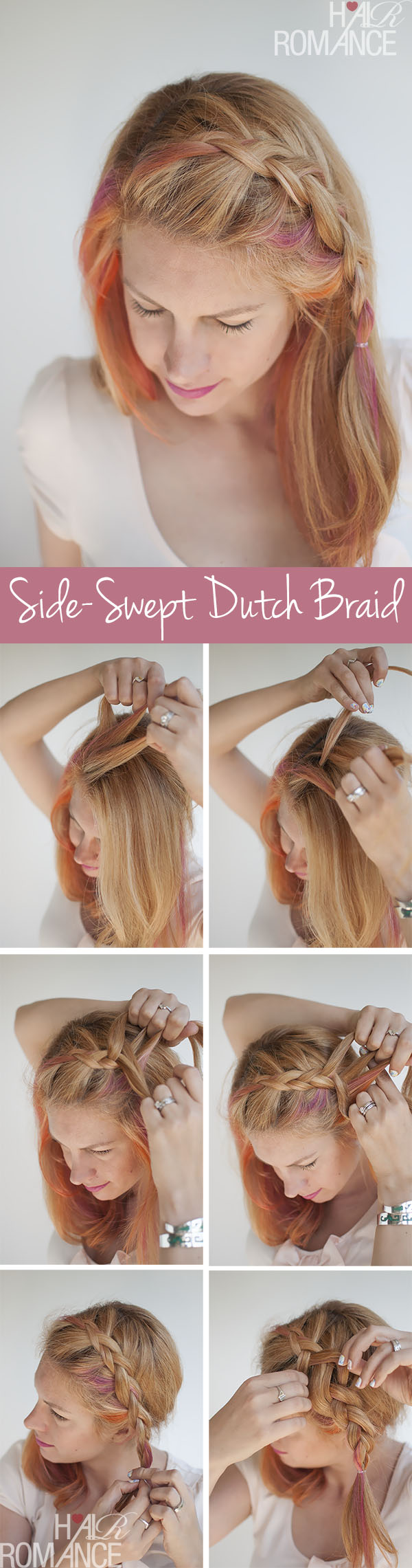 Hair Romance - Side-swept Dutch braid hairstyle tutorial