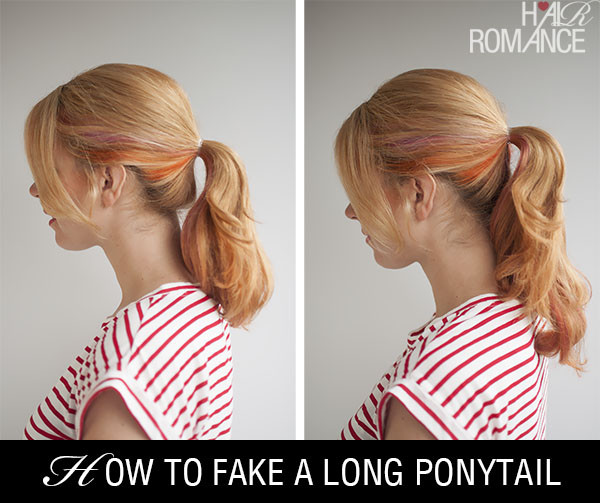 Hair Romance - how to fake a long ponytail before and after