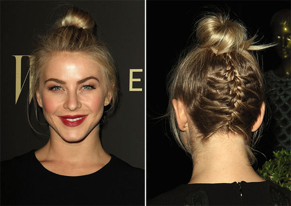 Julianne Hough - upside down braid bun in bob length hair