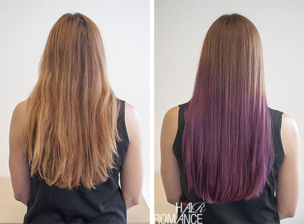 Hair Romance - before after purple ombre hair