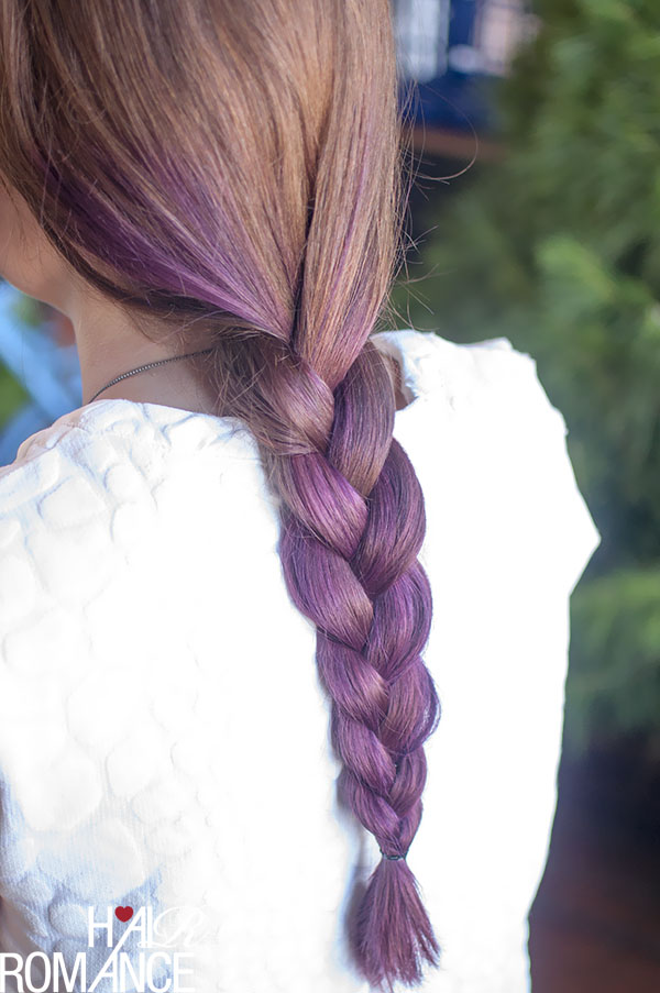 Hair Romance - three strand braid in purple hair