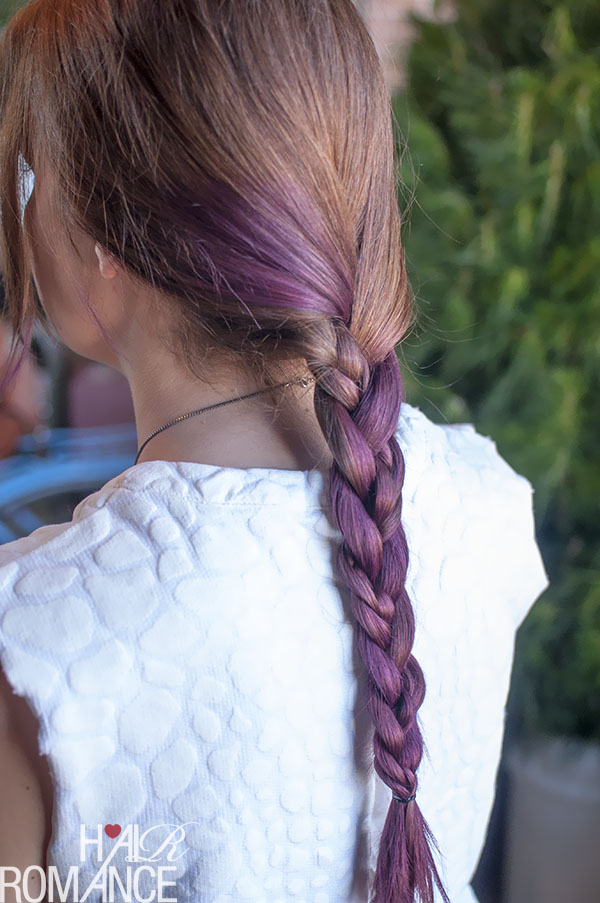 Hair Romance - three strand braid with a braid in purple hair