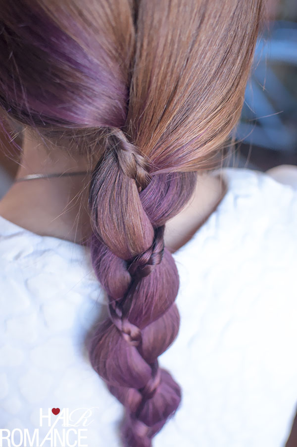 Hair Romance - three strand braid with a mini braid in purple hair