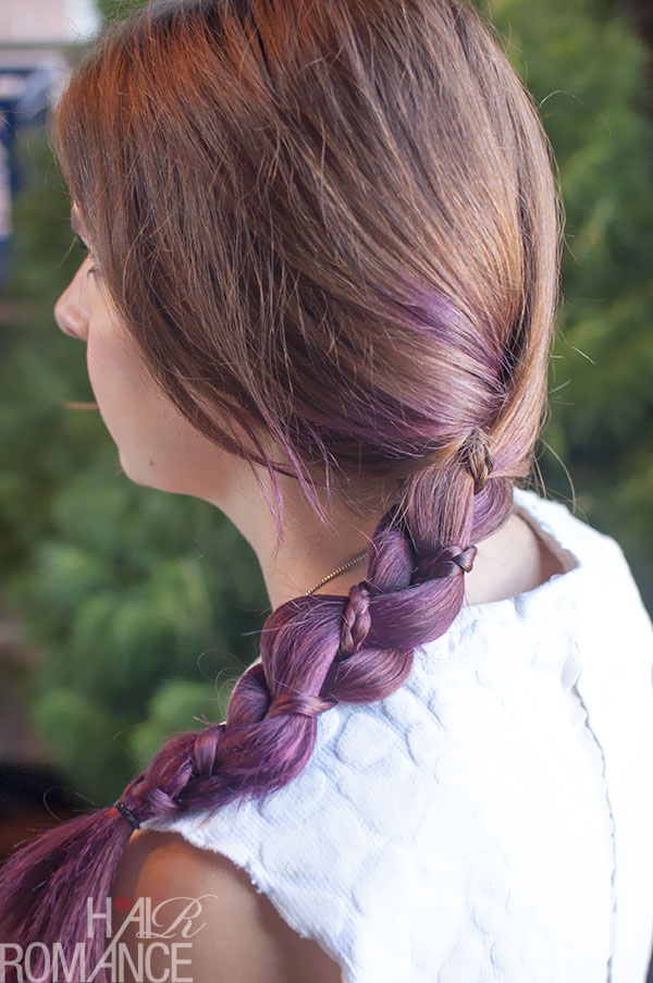 Hair Romance - three strand braid with mini braid in purple hair