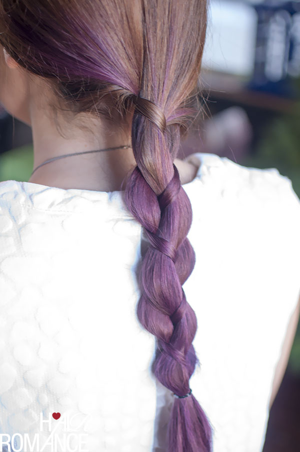 Hair Romance - three strand uneven braid in purple hair