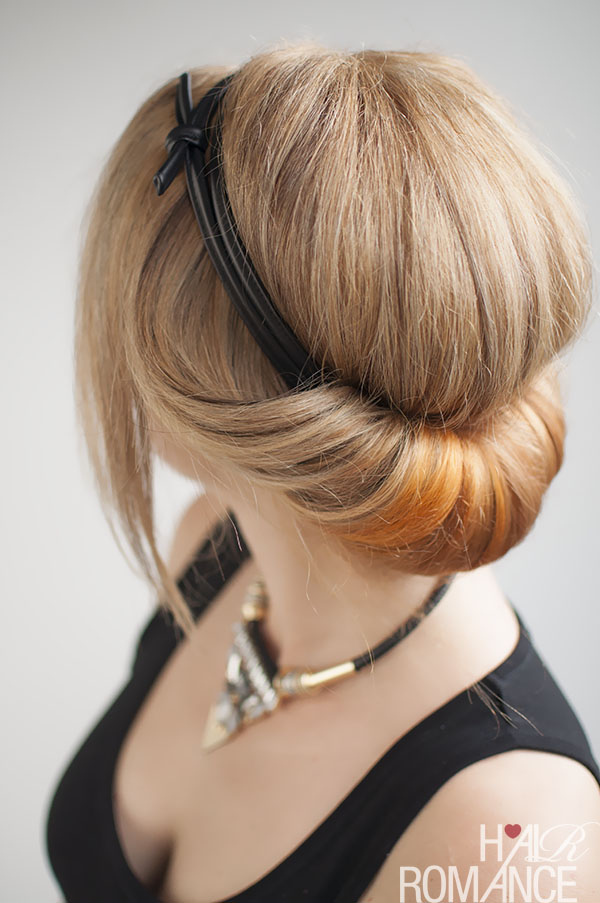 Hair Romance - how to do a headband rolled updo