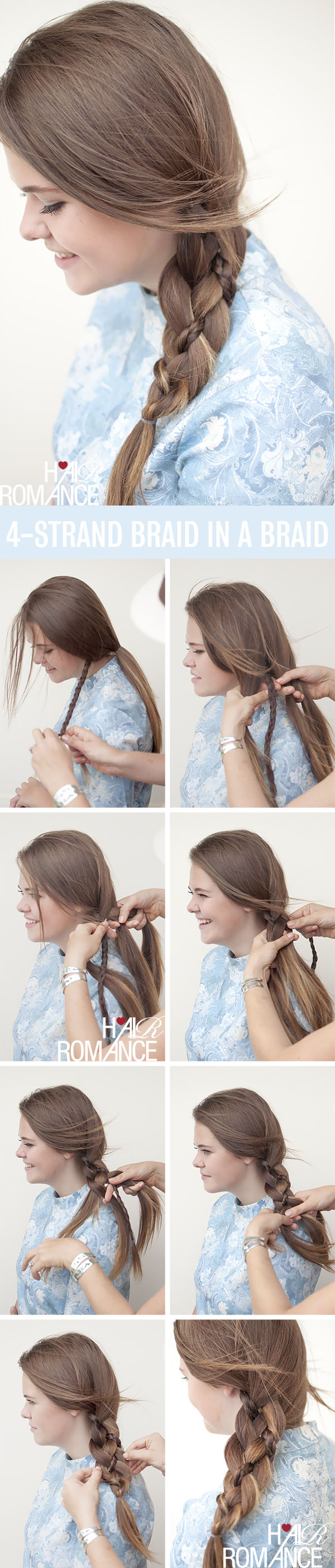 Hair Romance hairstyle tutorial - 4 strand braid in a braid